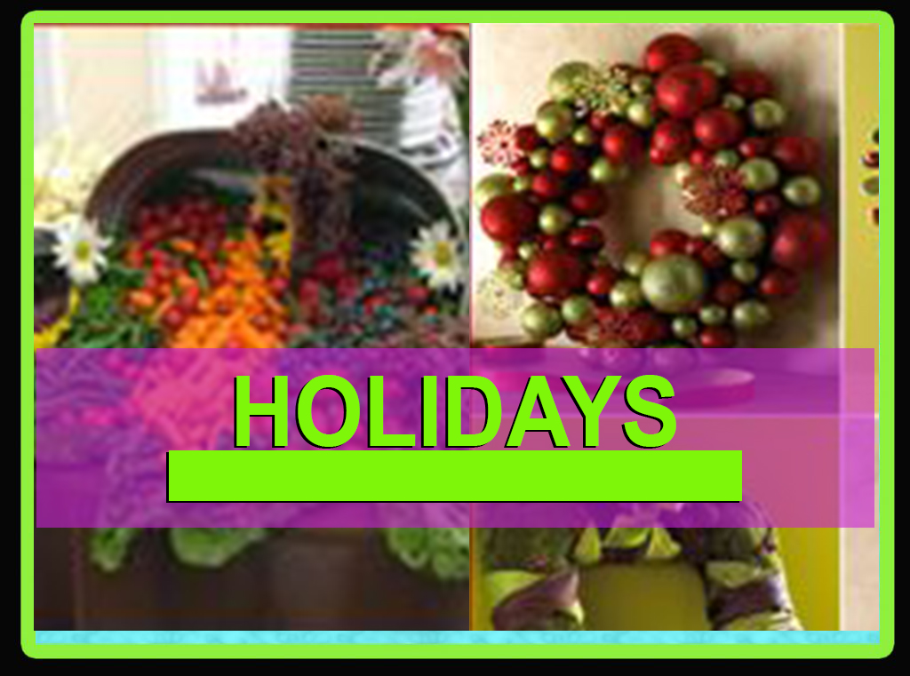 Decorating ideas. Halloween, Thanksgiving, Christmas, New Year