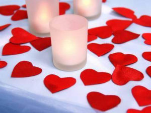 Candles and hearts (Red delicious re-purposed)
