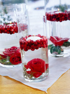 Cranberry flower cylinder (red delicious re-purposed)