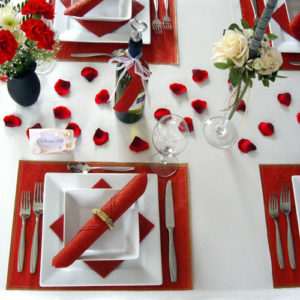 Table setting wedding formal (Red delicious re-purposed)