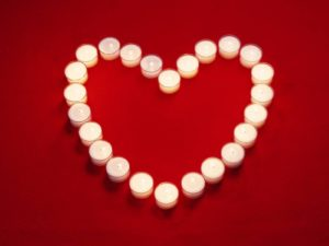 White candles heart (Red delicious re-purposed)